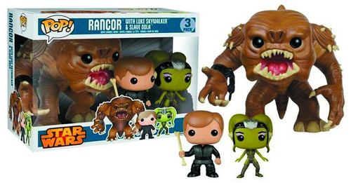 FIGURA FUNKO POP STAR WARS RANCOR LUKE SKYWALKER Y ESCLAVA OOLA