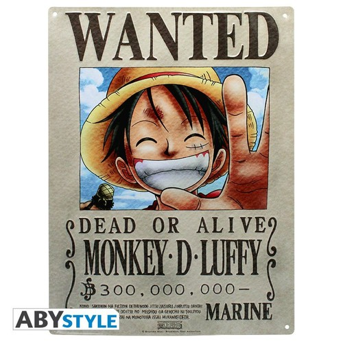 POSTER METÁLICO ONE PIECE CARTEL RECOMPENSA LUFFY